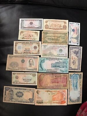 15 BANKNOTES VIETNAM Dong Rare -1/2/5/10/50/100/200/500/1000 Collection Free P&P