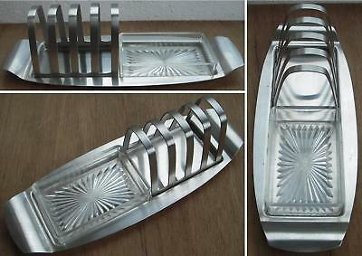 A Vintage Stainless Steel 4 Slice Toast Rack With Plastic Butter Tray - Retro