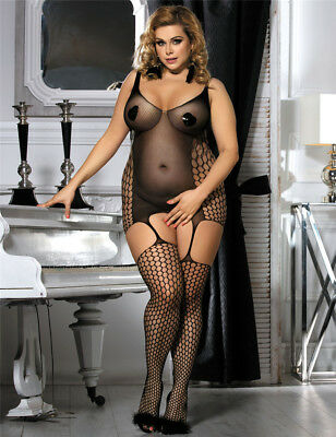Plus size Body Stocking Catsuit Queen Size L XL XXL Ouvert Body Negligee Dessous