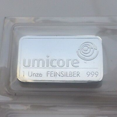 1 Troy Ounce Umicore 999 Fine Silver Bar