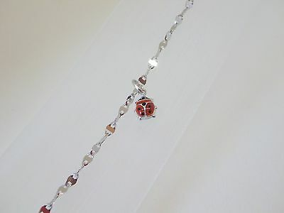 10K White Gold Bracelet and Ladybug Charm Made in Italy Stamped
