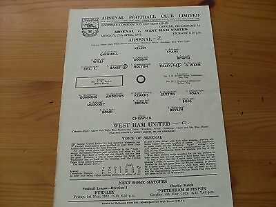 Arsenal Res v West Ham Res FCC Semi-Final programme dated 27-4-1953    (F502)