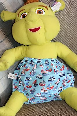 Handmade Diaper/nappy Cover Pants 12-24 Months(Unisex) Blue Boats