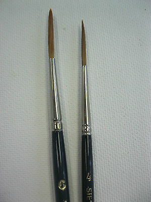 "2pcs Signwriter Pointed Liner Paint Brush, Sable Imitation ""Sabeline"" #4 and #6"