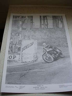 limited edition print of isle of man tt legend geoff duke, signed by him