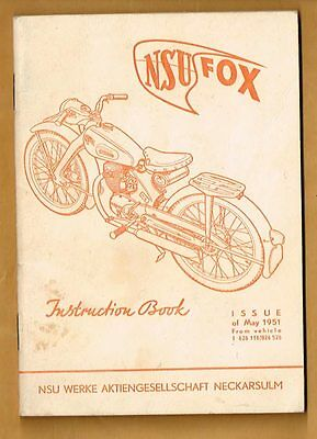 1951 NSU FOX Motor Bike Instruction Book