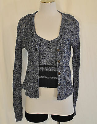 VTG 90s Blue 2 pc Fitted Sweater Cami  Blouse button Sheer Cover Top M