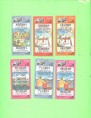 LOT # 1 Loto Quebec lot of 6 used loteries ticket Mini Loto 1984