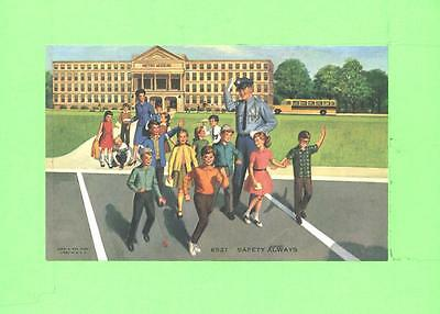 Vintage Calendar Image Chhool Boys And Girls Crossing The Road