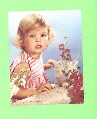 Vintage Calendar Image Little Girl With Cat