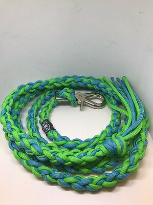 Lead Rope, Paracord Lead Rope, Turquoise And Neon Green Lead Rope Horse Tack