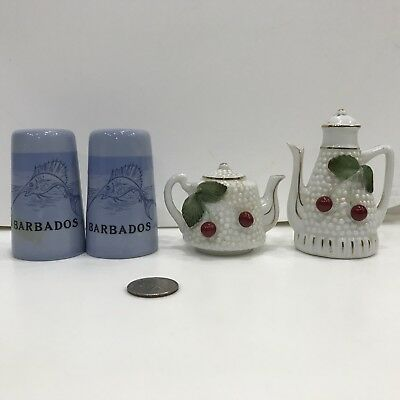 2 pair vintage Souvenir Barbados tea set cherry salt pepper shaker Japan Lot #72