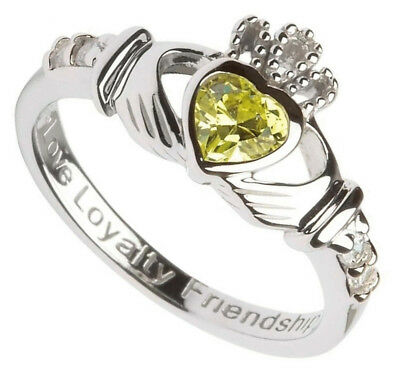 Hallmarked Sterling Silver Claddagh August Birthstone Ring