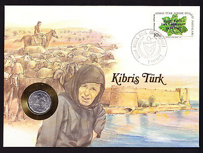 1983 Kibris Turk Turkish Republic of Northern Cyprus Stamp Cover with Coin