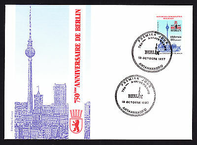 Malagasy Madagascar stamp on 1987 First Day Cover FDC 750 Jahre Berlin German