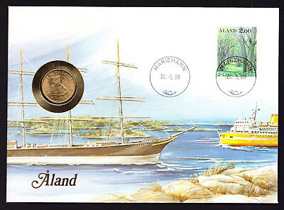 1988 Aland Islands Finnish Finland Stamp & Coin Cover Boats Boat Ship Sea Theme