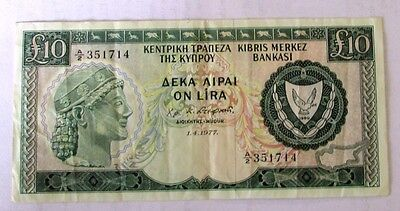 Cyprus  Bank Notes -    £10     1.4.1977      A2 351714  AEXF
