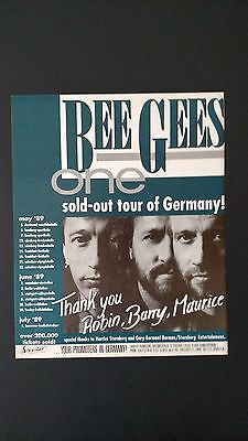 """The Bee Gees """"1989 Tour Of Germany"""" Sold Out Rare Original Print Promo Poster Ad"""