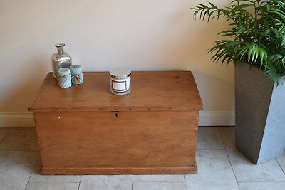 Victorian Blanket Box Chest Travel Trunk Old Pine coffer storage coffee table