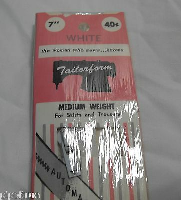 "2 Vintage zippers white Tailorform 7"" Medium weight Automatic lock New old stock"