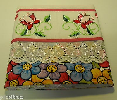 Guest linen hand towel Cross-stitch embroidery happy face flowers lined 32x18.5