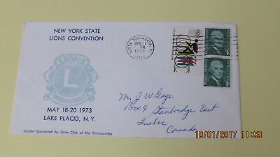 New York State 1973 Lions Convention, Lake Placid Cover to Canada