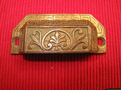 Antique Eastlake Brass Victorian Ornate Drawer Pull Handle A Pat 1873 19Th C