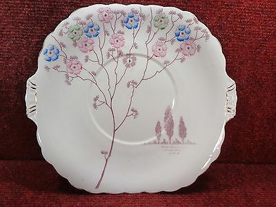 "ROYAL STAFFORD Sprigs Pink Blue Green Flowers 9.5"" CAKE PLATE 1940s FREE UK POST"