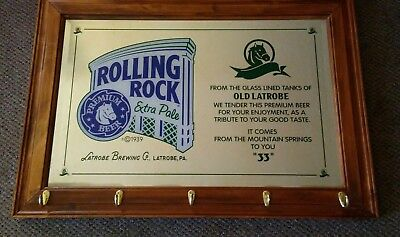 VINTAGE 36 x 25 ROLLING ROCK EXTRA PALE HAT  & COAT RACK BAR MIRROR WALL HANGING