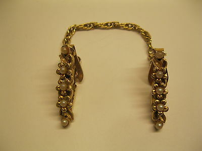 Vintage Faux Pearl Gold Tone Sweater Clip Guard