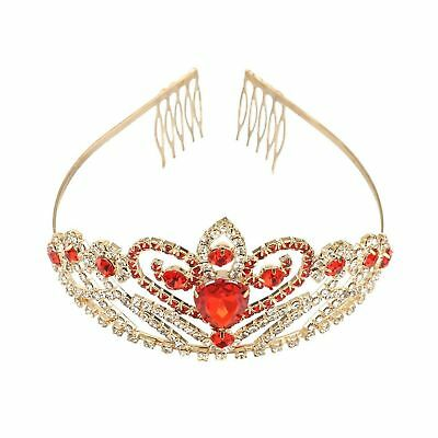 Tinksky Crystal Rhinestone Gold Red Hair Tiara Crown with Comb Wedding Party ...