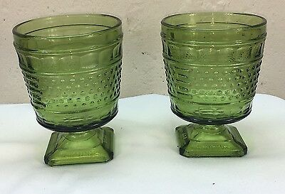 2 Glass - Vintage Napco 1180 Hobnail Green Vase Planter Pedestal Base OHIO USA