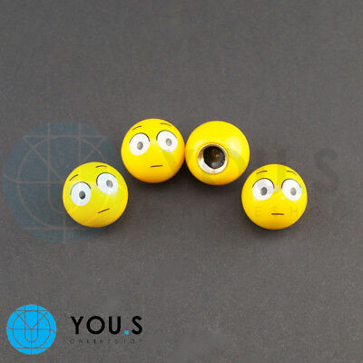 4 pcs Emotion Smileys Valve Caps in Yellow for Cars E.G.Vauxhall Ford