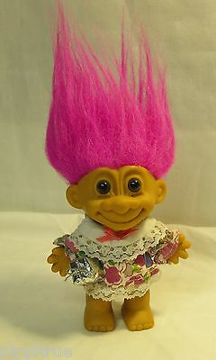 """TROLL c. RUSS Berrie Co. 4 1/2"""" doll girl present birthday party pink hair China"""