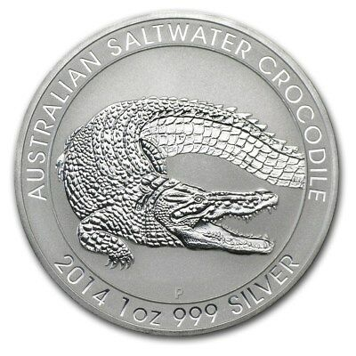 2014 Australia Saltwater Crocodile 1 Ounce .999 Silver Coin from Sealed Tube