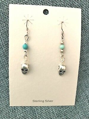 Day of the Dead Earrings Mini-silver skulls with Turquoise beads