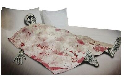 Life Size Bloody Dead Bedding Skeleton on Death Bed Halloween Decoration Prop