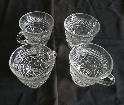 Wexford Anchor Hocking Four Punch Cups / Snack Cups Vintage - Diamond pattern