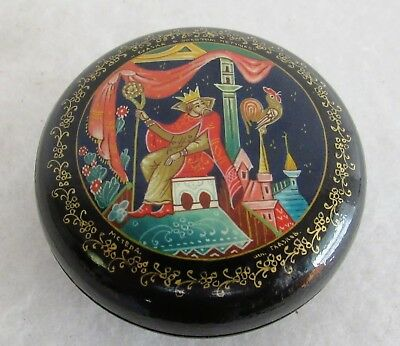 "Small Vintage Russian Hand Painted Laquer Box 2 5/8"" Diameter"