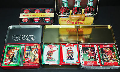 Coca Cola Coke Storage Tin & Six Sets Of Collectible Playing Cards