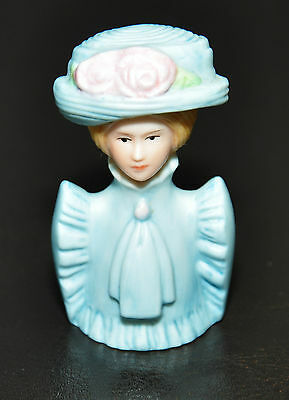 Avon 1890's American Lady Of Fashion Blue Hat Flowers Hand Painted Thimble 1982