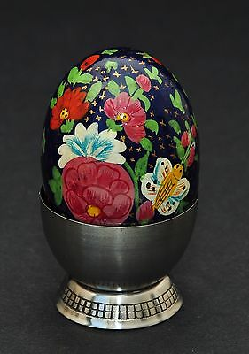 One Of A Kind Hand Painted Imari Style Cobalt Blue Floral Gold Chintz Egg & Cup