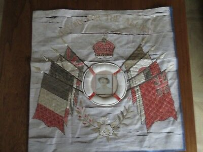 "Antique WW1 Large Silk Embroidery ""Victory to the Allies"""