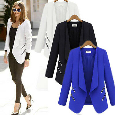 Womens Casual Suits Blazer Lapel Zipper OL Long Sleeve Jacket Coat Outwear Tops