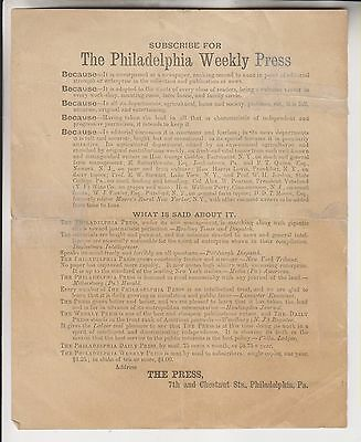 Circa 1880 Advertisement - The Philadelphia Weekly Press