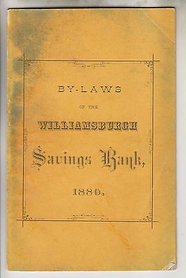 1880 Booklet - By-Laws Of The Williamsburgh Savings Bank - New York