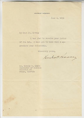 June 6 1933 Herbert Hoover Autograph Letter To Sidney Brown