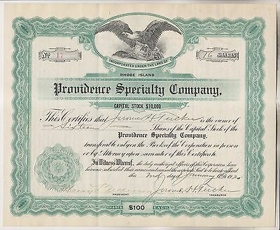 1920 Stock Certificate - Providence Specialty Company - Rhode Island