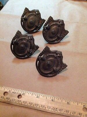 Lot of 4 Vintage Antique Metal Drawer Pulls