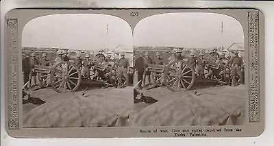 Wwi Stereoview - Guns Captured From The Turks Palestine - Realistic Travels